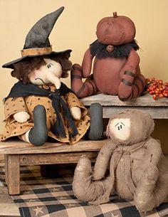 Primitive Halloween Doll Trio