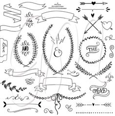 Laurels clipart Ribbons Wreaths Banners Boarders by GraphicMarket