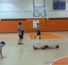 Kid doing a somersault lands on a guy's crotch