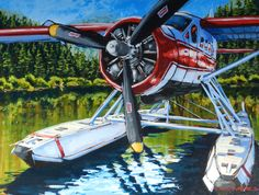 Otter on Glass Bryan Coombes Acrylic Aircraft Images, Float Plane, Beavers, Aviation Art, Otters, Alaska, Planes, Trains, Boats