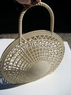 White Plastic Handbag vintage 50s/60s