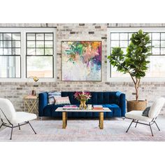 Bea Sofa Navy - Recline And Shine - Living Room - Room Ideas - March 23 2019 at Apartment Interior Design, Interior Exterior, Living Room Interior, Modern Interior Design, Living Room Furniture, Living Room Decor, Interior Livingroom, Cafe Interior, Artwork For Living Room