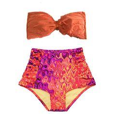 Orange Lattice Tie Back Bra Top and Graphic Print Ruch Ruched High... ($40) ❤ liked on Polyvore featuring swimwear, bikinis, high rise bikini, beach bikini, retro high waisted swimsuit, swimsuits high waisted bikini and retro high waisted bikini