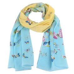Winhurn 1PC Women Chiffon Soft Muffler Scarves Long Wraps Shawl Butterfly Scarf Sky Blue >>> You can get additional details at the image link.