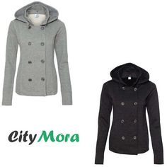 Independent Trading Juniors Premium Heavy Textured Fleece Pea Coat -NEW New Year Gifts, Pea Coat, All About Fashion, Vest Jacket, Double Breasted, Raincoat, Fashion Photography, Just For You, Clothes For Women