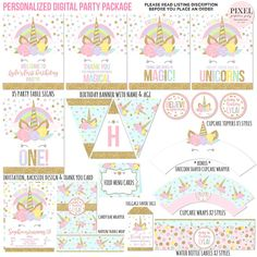 ⬇Please read the listing description before you place your order⬇ This listing is for a fully customized digital print ready party package, deliver to your email inbox for you to print. The Listing Includes: Unicorn Birthday Invitations, Unicorn Birthday Parties, Unicorn Party, Birthday Party Decorations, Sleepover Party, Party Kit, Personalized Invitations, Happy Birthday Banners, Party Printables