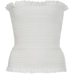Veronique Branquinho Ivory Strapless Ruffle Trim Top (940 AUD) ❤ liked on Polyvore featuring tops, flutter top, sleeveless ruffle top, smocked top, frill crop top and ivory sleeveless top