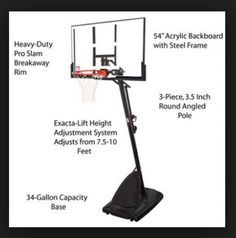 "54"" Portable Basketball System Adjustable Hoop Court Backboard Pole Net Goal Pro #Spalding"