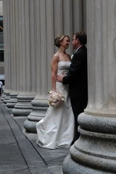 The pillars at Union Station make for a gorgeous wedding photo.