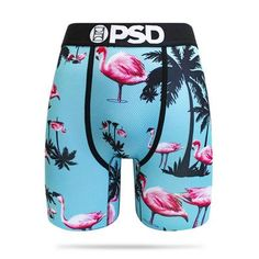 Mens Flamingo Bird Background Pink Underwear Boxer Briefs Ultra Soft Comfortable