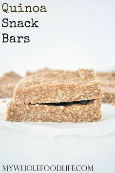 Super Healthy Quinoa Granola Bars.  No bake, vegan, gluten and grain free, and perfect for snacking! Make them in minutes.
