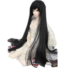 "Wallmart.win BJD Doll Wig 8-9 22-24cm 1/3 BJD SD Long Straight Hair Black Toy Costume Wig"": Vendor: BG-US-Toys-Hobbies-and-Robot Type:…"