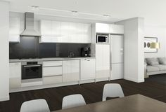 Straight Kitchen In High Gloss White with Aluminium Integrated Handles