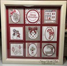 2018 Stampin' Up Catalog Sampler Christmas Shadow Boxes, Christmas Collage, Christmas Paper Crafts, Christmas Frames, Diy Christmas Cards, Xmas Cards, All Things Christmas, Handmade Christmas, Holiday Crafts