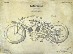 Harley Davidson Patent Drawing Print featuring the photograph 1916 Motorcycle… Motorcycle Posters, Motorcycle Art, Harley Davidson Wallpaper, Engineer Prints, Patent Drawing, Patent Prints, Vintage Labels, Picture Design, Thing 1