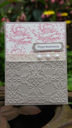 Stippled blossoms with vintage wallpaper embossing folder