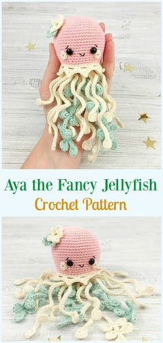o padrão de Crochet Fancy Jellyfish Amigurumi - Toy . Aya o padrão de Crochet Fancy Jellyfish Amigurumi - Toy . Easy amigurumi crochet pattern Baby Octopus for kids. Amigurumi Jenny the Jellyfish crochet pattern. Crochet Simple, Cute Crochet, Knit Crochet, Preemie Crochet, Crochet Blouse, Baby Knitting Patterns, Crochet Patterns Amigurumi, Bear Patterns, Doll Patterns