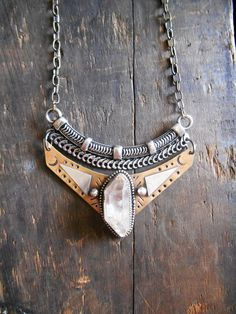 Mixed Metal Bib Necklace with Quartz Crystal, Brass and Sterling Silver