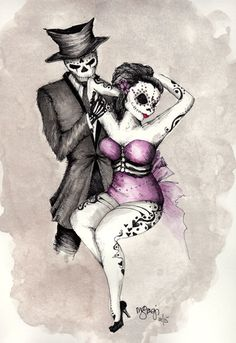 Watercolor Original Art by StagiWorks on Etsy Custom requests welcomed!  http://www.etsy.com/shop/stagiworks Wedding gift, Romantic Dia De Los Muertos Couple, Watercolor Art, Wall Art, Home Decor, Wedding Gift, Sugar Skull Art, Tattoo Art by StagiWorks on Etsy