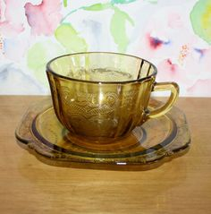 CLEARANCE, Pretty Vintage, Federal Glass Madrid-Amber, Depression Glass, Cup and Saucer by cocoandcoffeevintage