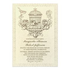 Gothic Wedding Invitations vintage love birds cage wedding invitations