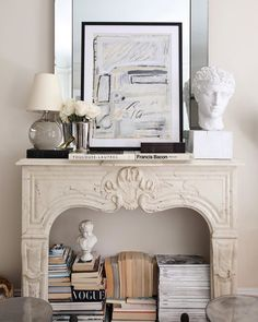 Home Decor Cozy 10 Creative Ways to Store Books (That Arent Bookshelves) Classic and French inspired fireplace mantel decor ideas White Fireplace, Fireplace Mantels, Fireplace Ideas, Fireplaces, Classic Fireplace, Mantles, Style Deco, Home Decor Inspiration, Decor Ideas