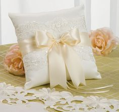 Chantilly Lace Custom Ring Bearer Pillow: Ivory Lace, Rouge Ribbon