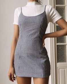 summer fashion spring style ootd outfit plaid dress gingham casual ribbed tshirt - The world's most private search engine Fashion Wear, Look Fashion, Fashion Outfits, Womens Fashion, Fashion Spring, Ootd Spring, Dress Fashion, Casual Summer Fashion, Fasion