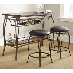 Steve Silver Greensboro 3-Piece Counter Height Pub Table Set - Oak - GS3000