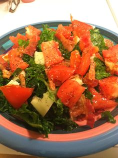 BKT - Bacon, Kale & Tomato salad with olive oil & red wine vinegar. Surprisingly delicious!! Carbs and cheese optional. :)
