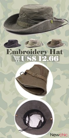 807e9b7e7d9 Mens Summer Cotton Embroidery Visor Bucket Hats Fisherman Hat Outdoor  Climbing Mesh Sunshade Cap is hot sale on Newchic.