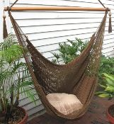 Our Hammock Chairs are hand woven from soft spun polyester, unlike similar cotton chairs they will not rot, mold or mildew, woven into the body is an extra long extendable footrest that enables the user to really stretch out. These are the largest and most comfortable hammock chairs anywhere.