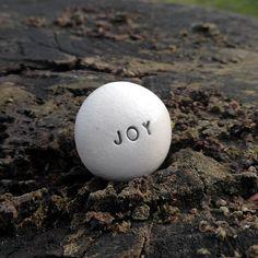 JOY - Ceramic Message Pebble by Brekszer on Etsy