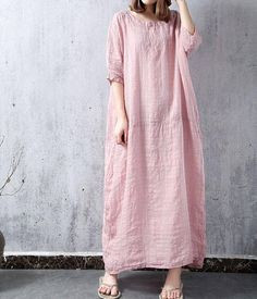 Pink / White Oversize long dress Large size robes dress