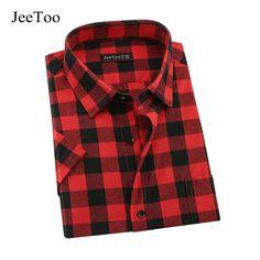 Mens Plaid  Shirt Long /& Short Sleeves Cotton Button-Front Check Shirts Red 5XL