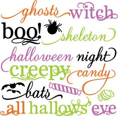 Halloween Words Set SVG scrapbook title spiderweb svg cut file halloween svg cuts free svgs