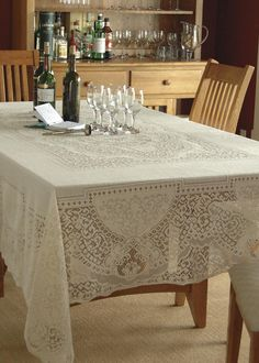 The Canterbury Classic Tablecloth offers a look from the past; a regal classic at home in almost any traditional setting. Shop at heritagelace.com.