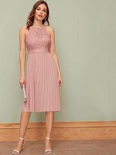 To find out about the Zipper Back Lace Bodice Pleated Halter Dress at SHEIN, part of our latestDresses ready to shop online today! Vestidos Halter, Sexy Lace Dress, Hot Dress, Nice Dresses, Casual Dresses, Women's Dresses, Stylish Dresses, Fashion Dresses, Haut Transparent