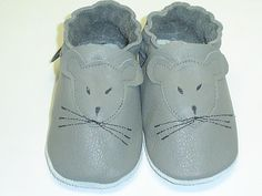 Hand Made, Soft sole, leather grey mouse , soft leather, baby shoes, baby slippers, toddler, booties FREE SHIPPING