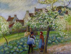 Flowering Plum Trees, 1890 - Camille Pissarro
