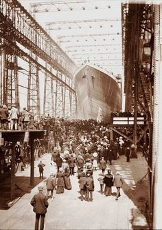 A selection of images depicting the launch of the doomed ocean liner at the Belfast shipyard where she was constructed