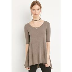 Forever 21 Raw-Cut Longline Trapeze Tee ($13) ❤ liked on Polyvore featuring tops, t-shirts, brown t shirt, brown tops, forever 21 t shirts, forever 21 tops and longline tee