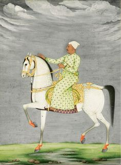 """robert-hadley: """"An equestrian portrait of a Nawab riding a grey stallion, signed by Muhammad Reza-i Hindi, Mughal, possibly Oudh, dated 1177 AD """" Mughal Miniature Paintings, Mughal Paintings, Indian Paintings, Chinoiserie, India Art, India India, Iranian Art, Native American Art, Native Art"""