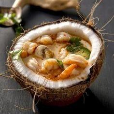 Coco, verduras y mariscos