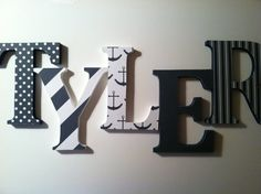 Nautical themed Wooden letters for nursery spelling out your child's name letters alphabet initials monogram