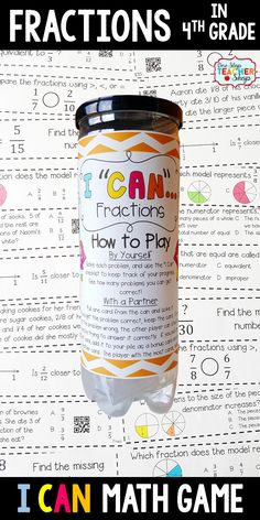 4th grade math game for FRACTIONS. Perfect for math centers, independent practice, whole class review, and progress monitoring. This math game covers ALL Common Core math standards related to fractions in Fourth Grade.