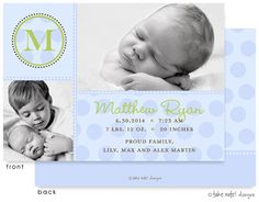 Beautifully designed our unique photo baby announcements features your baby's photo and sibling photo (any 2 photos) in color or black and white. Cute chambray blue polka dots with lime accents and baby's initial in a circle are on this baby boy birth announcement from Little Angel Announcements