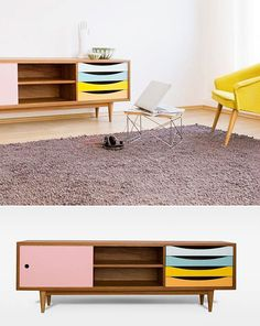 sideboard / coffee table / soft candy colour scheme