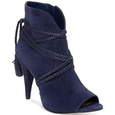 Vince Camuto Astan Braided-Strap Booties (195 CAD) ❤ liked on Polyvore featuring shoes, boots, ankle booties, heels, navy haze, vince camuto booties, heeled boots, navy boots, navy blue booties and tassel boots