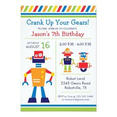 Robot birthday invitations baby bots baby bot and babies robot birthday invitations robot birthday party invitation filmwisefo Images